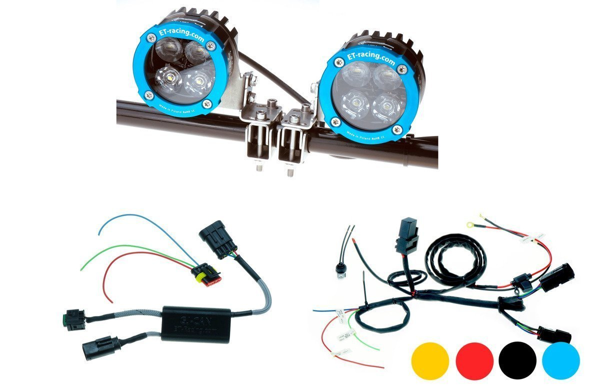 Set 2x Led Lamp Dual.4 with crash bard mounts + GJ-CAN driver for BMW